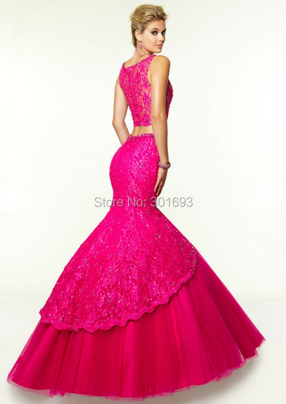 Aliexpress.com : Buy ONP147 Lace and Tulle Hot Pink Mermaid Two ...