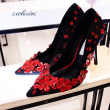 Flowers Wedding Pumps 2016 Spring Autumn Latest High Quality Thin Heels Pointed Toe Woman font b