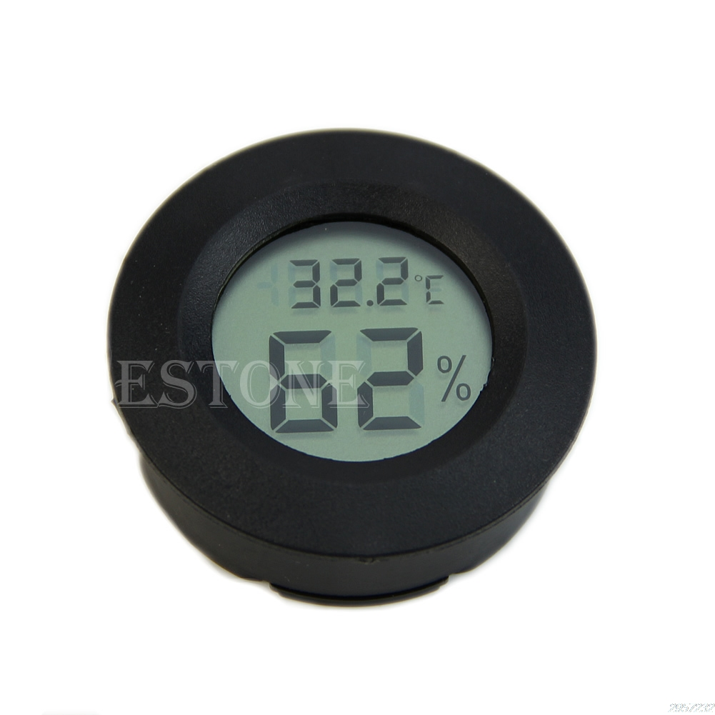 Hot Search Roundish Mini Digital Cigar Humidor Hygrometer Thermometer Round Face New Z07 Drop Shipping