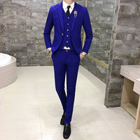 Men Suit 3 Pieces Set Business Groom Wedding Dresses men Blazer Jacket + Vest + Pant Asian size S M L XL XXL XXXL
