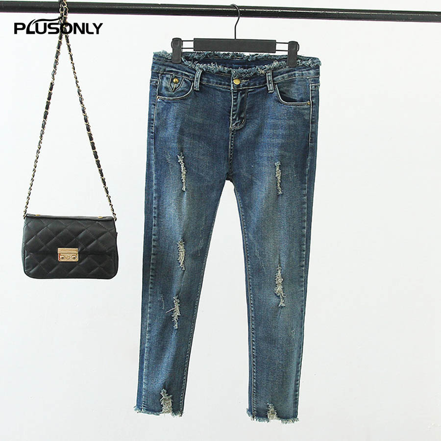 Ankle-length Ripped Jeans Female Casual Plus Size Slim Elastic Skinny Pencil Pants Women Denim Jeans Trousers Blue KK2759 2017 ripped jeans women casual denim ankle length boyfriend pants women floral embroidered flares hole female slim pencil pants