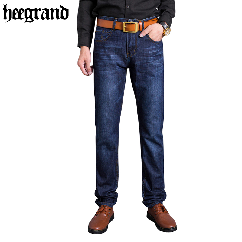 HEE GRAND 2017 New Fashion Washed Men Jeans Casual Mid Waist Solid Soft Cowboy Denim Plus Size Jeans MKN865 hee grand 2017 british style plus size men solid jeans full length straight mid waist comfortable male jeans mkn858
