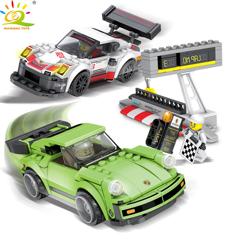 HUIQIBAO TOYS 421PCS Speed Racing Car Game Racers figures Building Blocks Educational Toys for Children Compatible legoed City