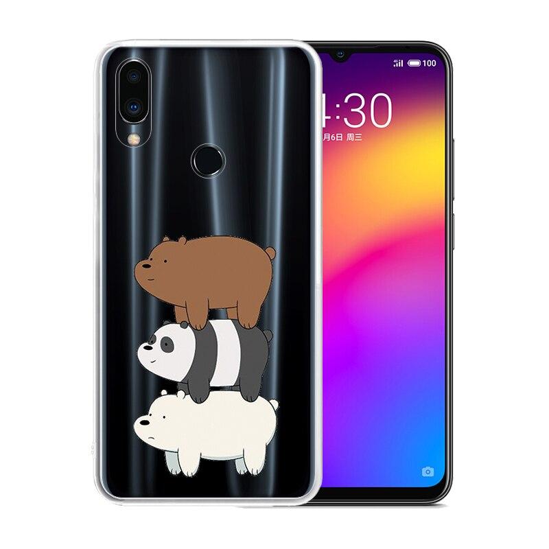 Silicona suave clara TPU caso para Meizu 16S Pro Nota 9 M8 M6 15 Lite 16 Rojo Negro Anti-arañazos que los osos de la cubierta