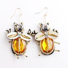 Cute Insect Super Beetle Earrings Acrylic Crystal Rice Beads Drop Handmade Behemia Statement