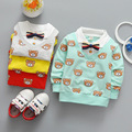 2017 Spring Autumn Casual Baby Infant Cartoon Bear printing boys Cotton Long Sleeve Turn-down Collar tie T-shirt Tops S4692