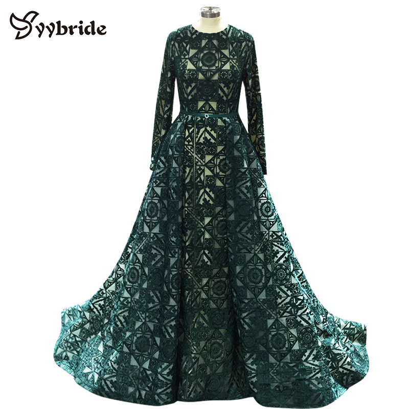 YYbride New Dubai Fashion Dark Green Long Evening Gowns Caftan Abaya In Dubai Long Sleeves Arabic Dresses Muslim Evening Dresses