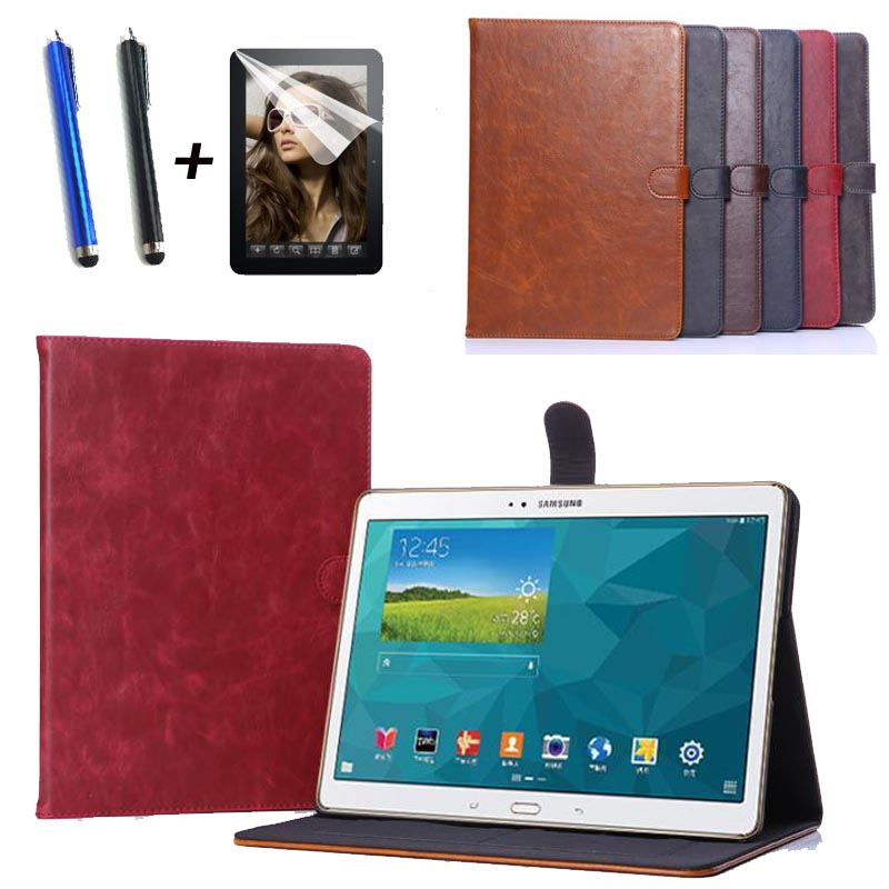 for Samsung Galaxy Tab S 10.5 SM-T800 T805C New fashion stand Leather case cover tablet smart case capa funda+Screen film+pen аксессуар чехол samsung galaxy tab a 7 sm t285 sm t280 it baggage мультистенд black itssgta74 1