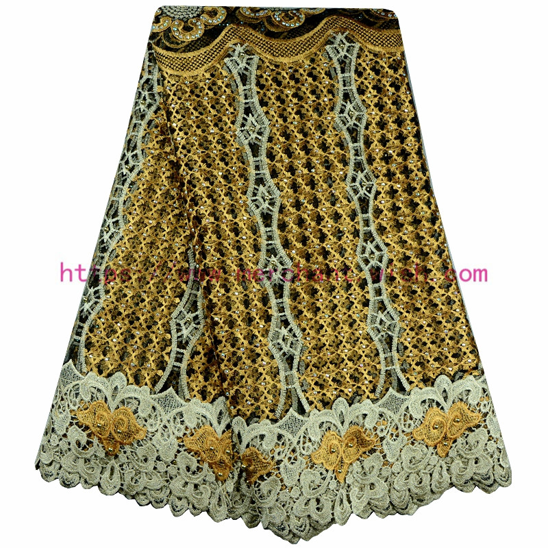 African Lace Fabric High Quality Embroidered Gold Color Nigerian Lace Fabrics With Beads French Lace FabricA568