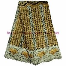 الأفريقي الدانتيل النسيج عالية الجودة المطرزة الذهب اللون النيجيري أقمشة الدانتيل مع الخرز الدانتيل الفرنسي FabricA568