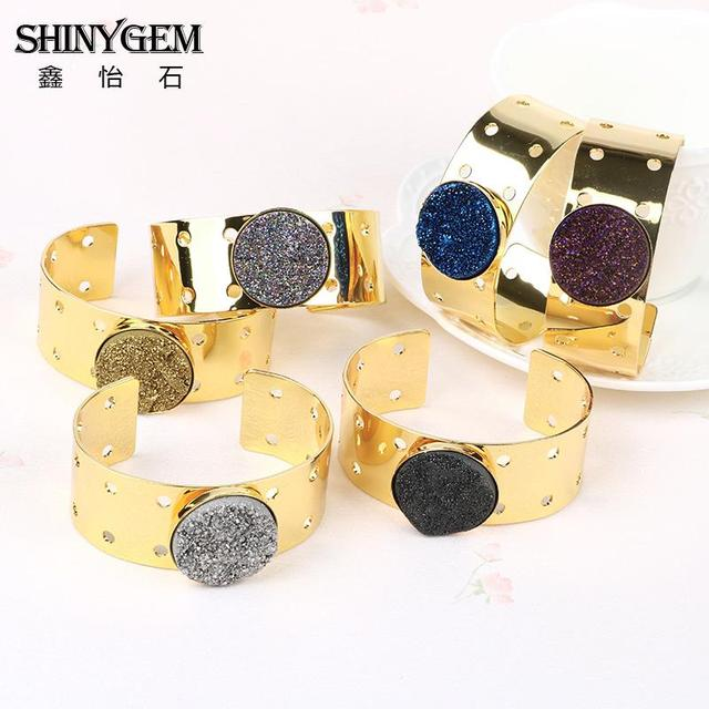 Elegant Gold Plated Natural Druzy Stone Wide Adjustable Bangles Cuff Bracelets High Quality Gifts Bracelet Pulseira Feminina