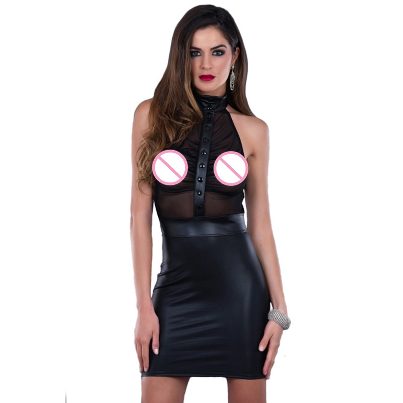 <font><b>Sexy</b></font> Off Shoulder <font><b>Night</b></font> <font><b>Club</b></font> <font><b>Dress</b></font> Plus Size 3XL Mesh <font><b>Transparent</b></font> Sleeveless Bandage Pole Dance Black Vinyl Leather Wrap <font><b>Dress</b></font> image