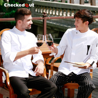 Top Quality Cook suit white work wear clothes checkedout chef jacket long sleeve chef uniform top quality working clothes