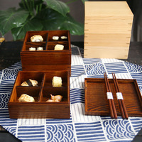 3 Layer Square Wood Lunch Box Japanese Sushi Bento LunchBox Portable Food Container Fruits Storage Tableware Dinnerware Set