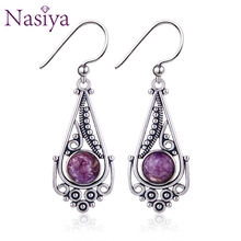цены Romantic Ethnic Women's Charoite Beads Earrings Classic 925 Sterling Silver Jewelry For Anniversary Party Birthday Gift
