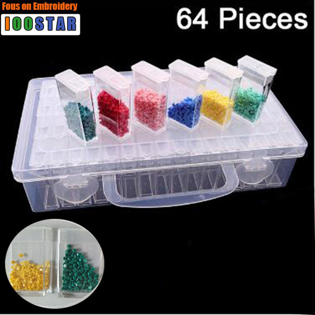 64 sztuk Box Nowy haft Diament diament malarstwo narzędzie! Daimond przezroczyste plastikowe pudełko do przechowywania, biżuteria Wiertła Schowek Prezent