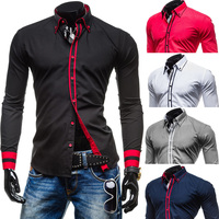 2015 New Mens Long Sleeved Dress Shirts Double Collar Button Unique Design Slim Fit Brand Shirts