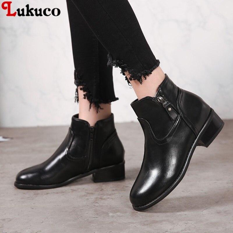 Lukuco Fashion Ankle Boots Round Toe 3cm Low Heel Size 39 40 41 42 43 44 45 46 Custom Handmade Botas Free Shipping Woman Shoes 2019 lukuco winter warm plush women boots oversize 38 39 40 41 42 43 44 45 46 high quality botas custom handmade pu lady shoes