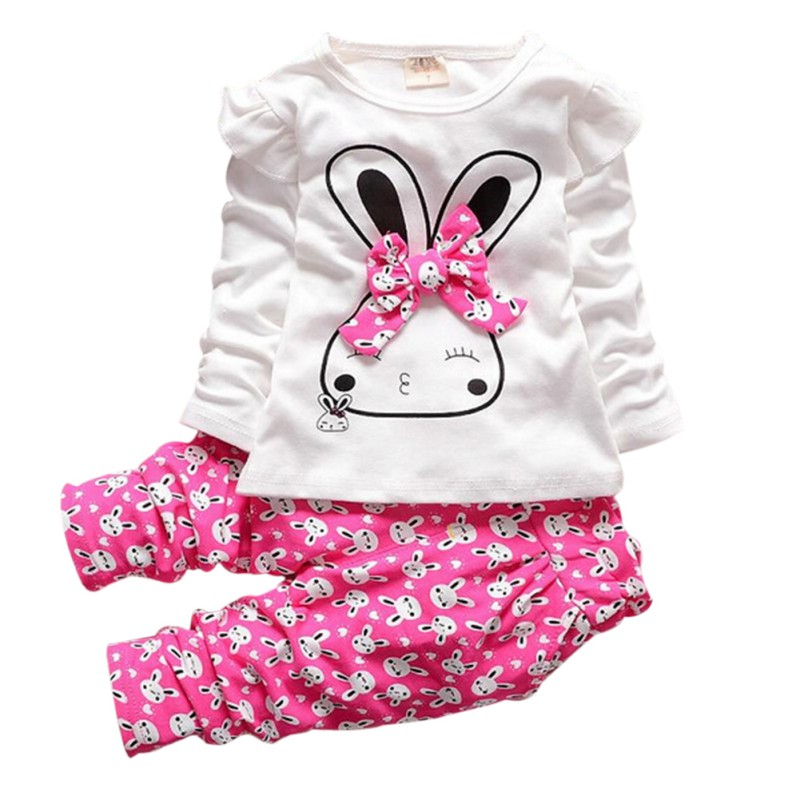 2017 Infant Baby Girls Winter Warm Pullover Tops +Pants Outfits Set Kids Clothes 2PCS baby girls kids minnie tops print pants outfits set childrens clothes