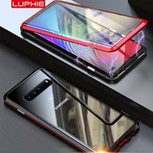 Luphie manyetik samsung kılıfı Galaxy S10 artı 5g S10e S9 S8 not 9 8 tam ön + arka 9H cam temperli Film mıknatıs kılıfı