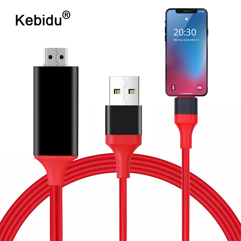 kebidu 1 8M 8 Pin to HDMI Male Cable HD 1080P HDMI Converter Adapter Cable USB kebidu 1.8M 8 Pin to HDMI Male Cable HD 1080P HDMI Converter Adapter Cable USB Cable for HDTV TV Digital AV for iPhone for IOS