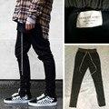 Chinos шаровары бегунов мужские европейский городской одежды черный запад джастин бибер платье молния брюки страх божий есть логотип