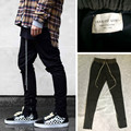 Pantalones joggers mens ropa urbana europea negro oeste justin bieber vestido cremallera pantalones de chándal harem temor de dios tiene logo