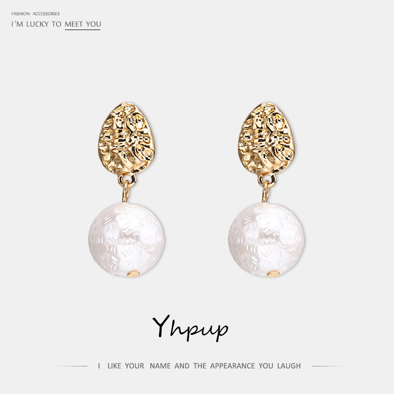 Yhpup Trendy Korean High Quality Pearl Dangle Earrings Zinc Alloy Baroque Vintage Brincos Oorbellen for Women Party Jewelry Gift