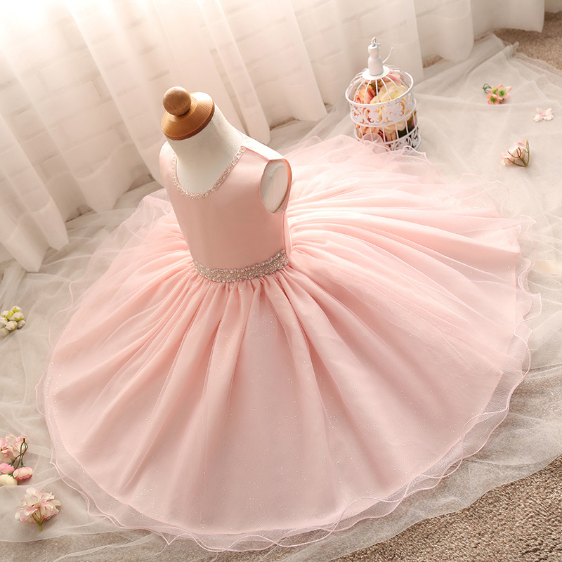 Pink 2017 Baby sleeveless Infant Princess Christening Gown For Girl Children's Clothing Kids Dresses Costume Girls Evening