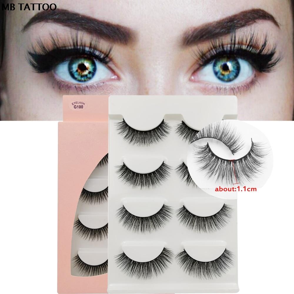 MB New 100% 4 Pairs mink eyelashes Natural dense 3D Mink Lashes individual Extension Makeup Soft False Long Eye Lashes Hand Made