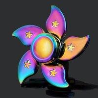 Flower Rainbow Hand Spinner Fidget Zinc Alloy Metal Fidget Spinner Metal Bearing Edc Finger Spinner Hand
