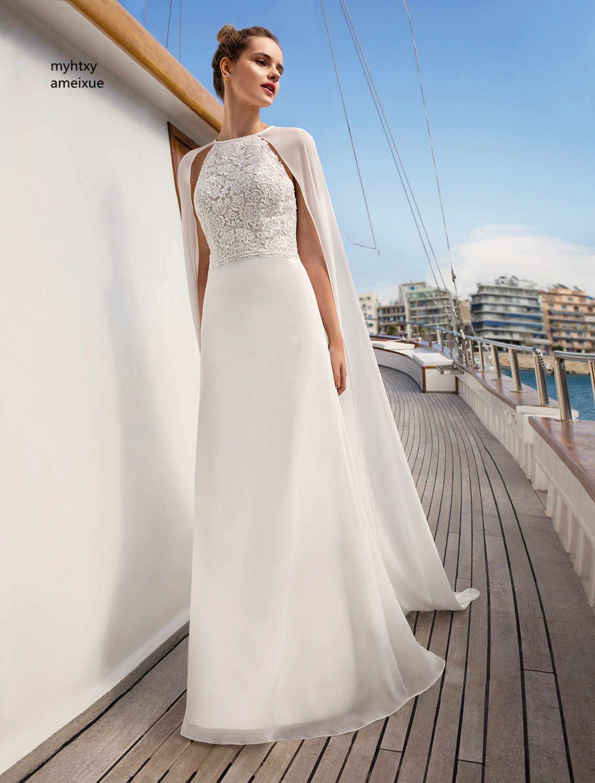 2018 новый рукавов шифона Холтер развертки поезд Пол-длина спинки линии рукавов Дешевые Свадебное платье Китай Свадебные платья