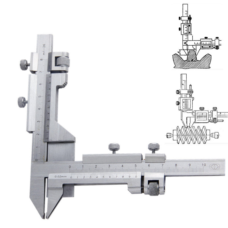 Vernier Caliper M1-26 Gear Gearwheel Thickness Gauge Measuring Tools  thickness gauge deep throat measuring caliper 0 10 120mm depth