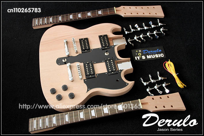 DIY Electric Double Neck Guitar Kit Bolt On Solid Mahogany
