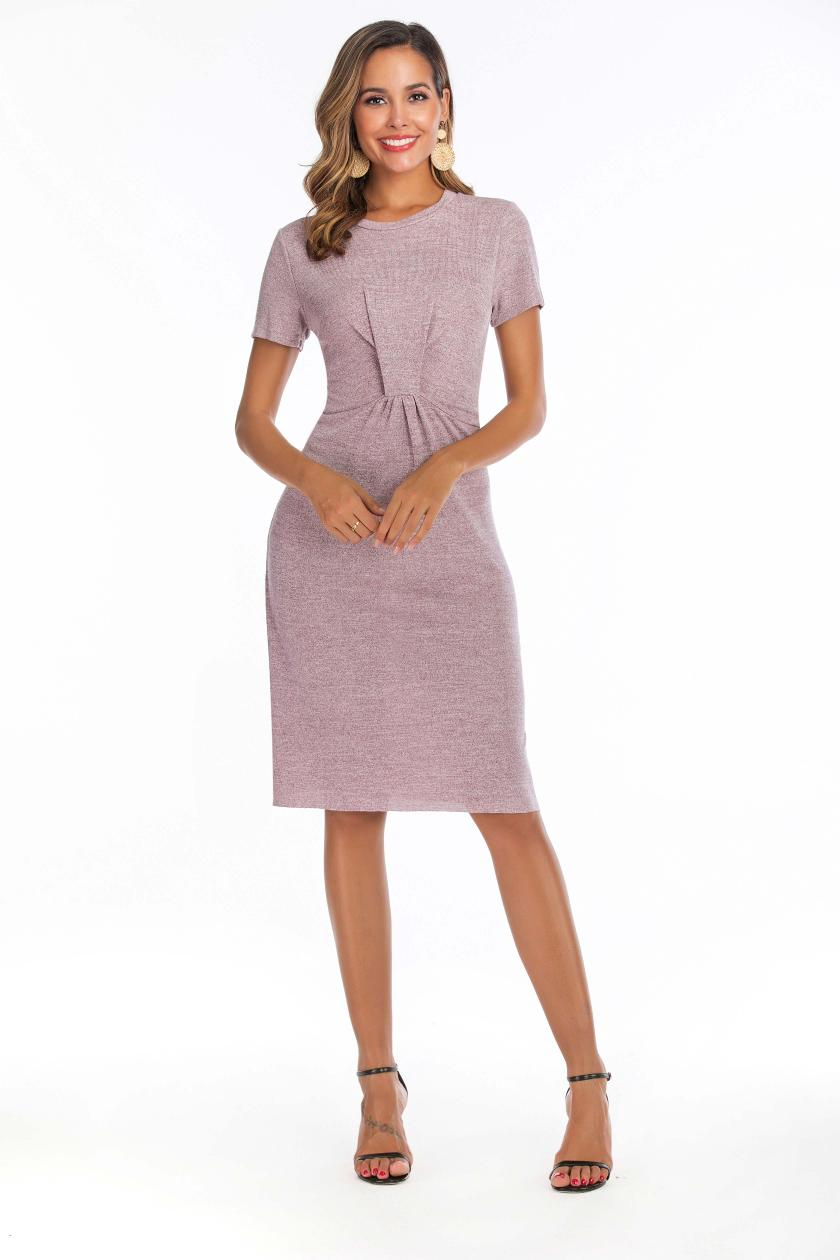 Make amazon new comfortable spot trade contracted fold soft continous knitted dress(China)