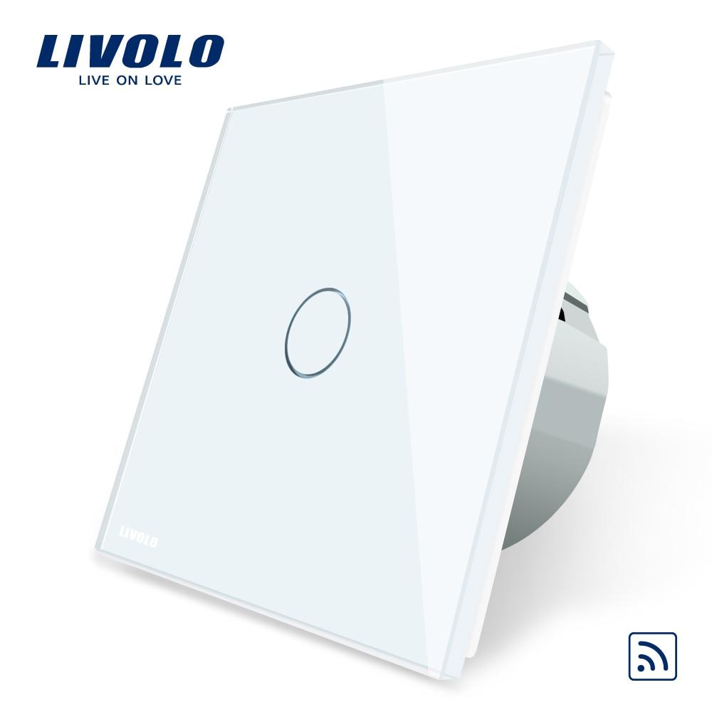Luz Da Parede Livolo Padrão DA UE Interruptor de Toque Remoto, 1 gang 1way, Painel de vidro, AC 220 ~ 250 V, VL-C701R-1/2/3/5, sem controle remoto