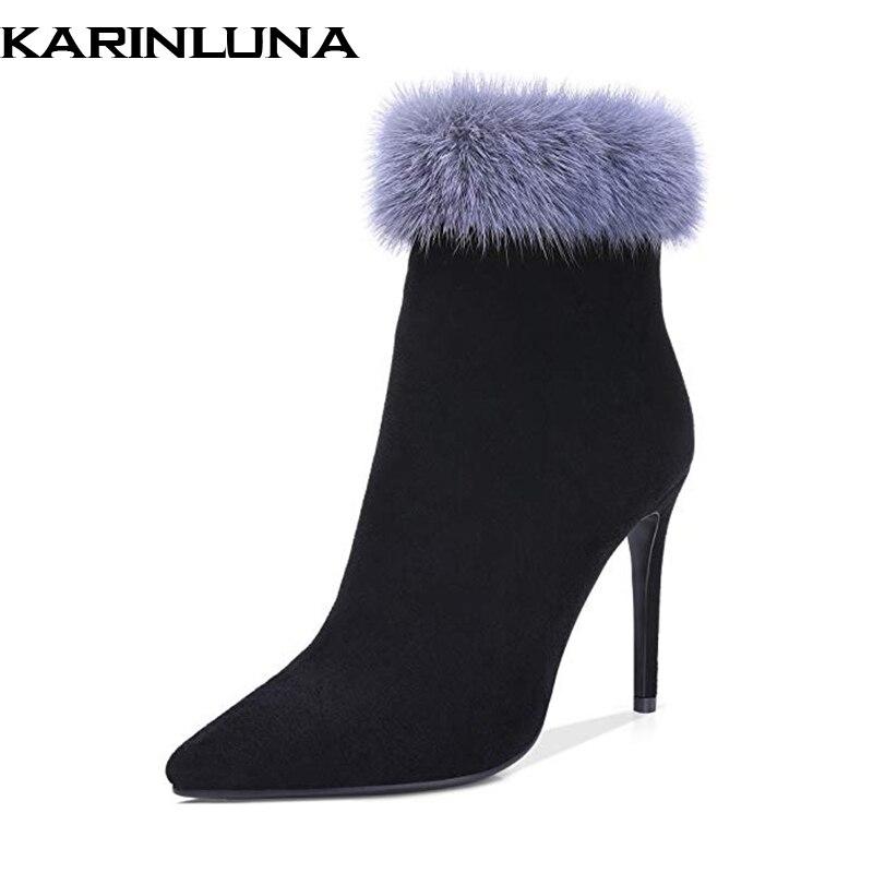 dc52ac9a Tobillo Fiesta Negro Tacón Karinluna Alto Piel Rebaño Sexy 43 Mujer 2019 De  Real Diseño Plus Tamaño Mujeres Marca Botas Zapatos PHUxaPq