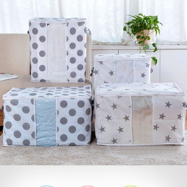 1pc Lot Colorful Fashion Garment Bag Foldable Storage Clothes Blanket Quilt Closet Sweater Organizer Box