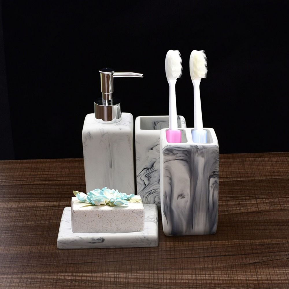 4pcs/set Faux Marble Ceramic Bathroom Accessories Soap Dispenser Toothbrush Holder Soap Dish Glass of Bathroom Products