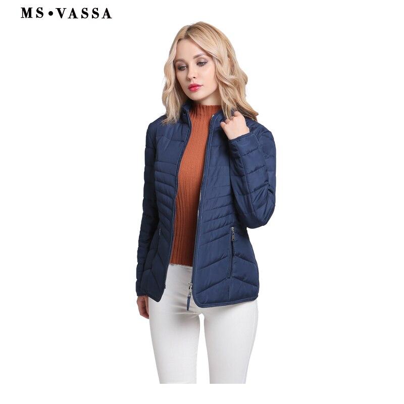 Kadın Giyim'ten Parkalar'de MS VASSA Ceketler Kadın 2018 Yeni Sonbahar Kış Bayanlar temel coats stand up yaka ince artı boyutu 6XL 7XL kadın giyim'da  Grup 1