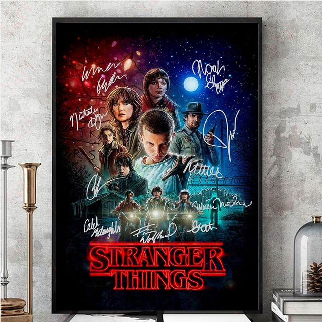 signature stranger things poster canvas painting posters and prints wall art pictures for living. Black Bedroom Furniture Sets. Home Design Ideas