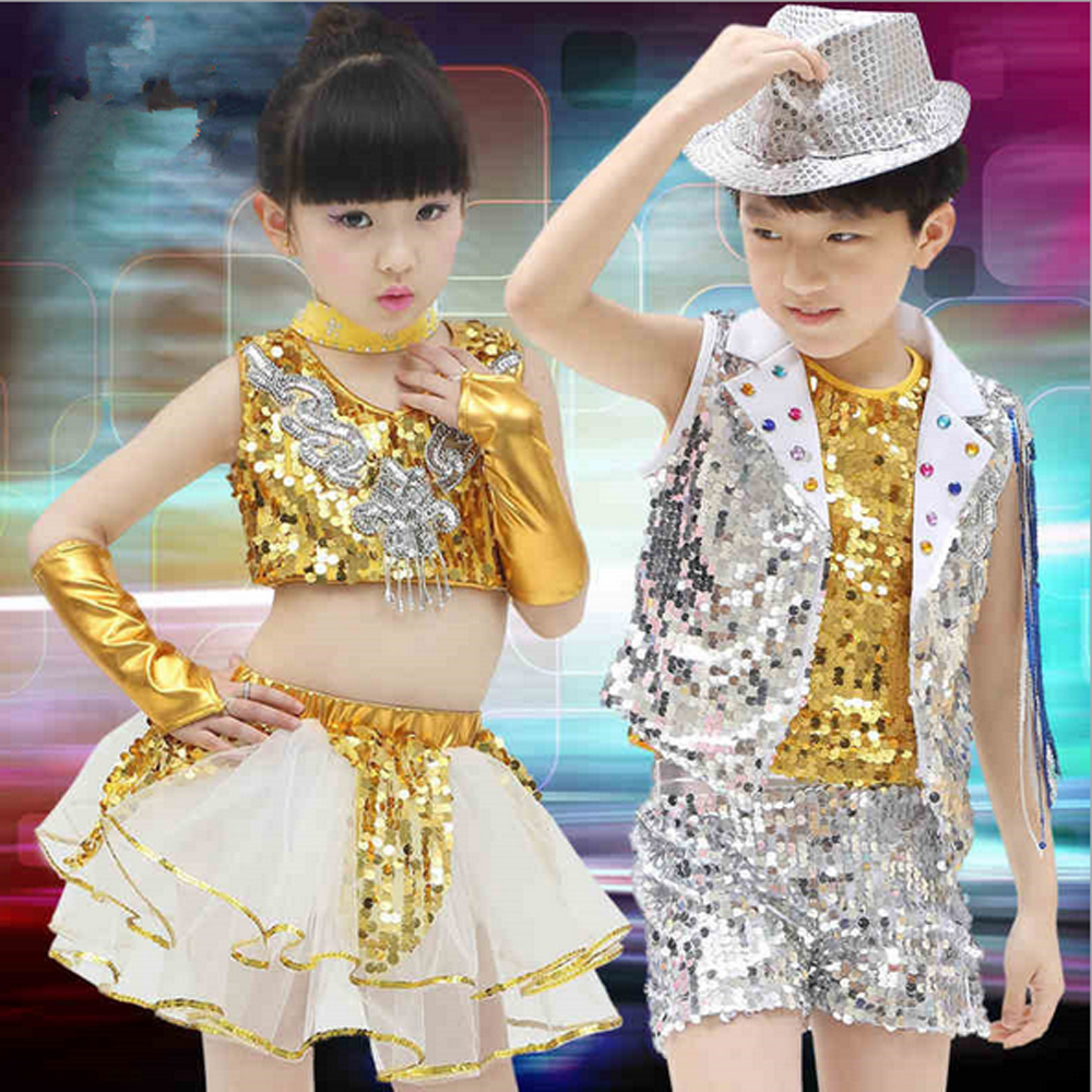Children's performance clothing boys suits modern jazz dance girls kids sequins veil club party stage performing costume set