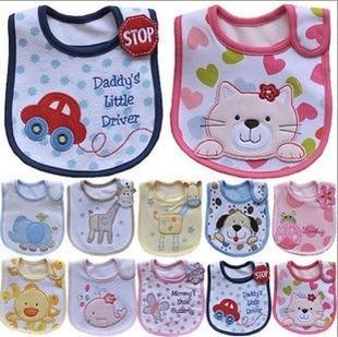 5pcs/lot Cotton Baby Boys Girls Bibs Infant Embroidered Saliva Towels Feeding Burp Cloths Lovely Baby Accessories Waterproof Bib