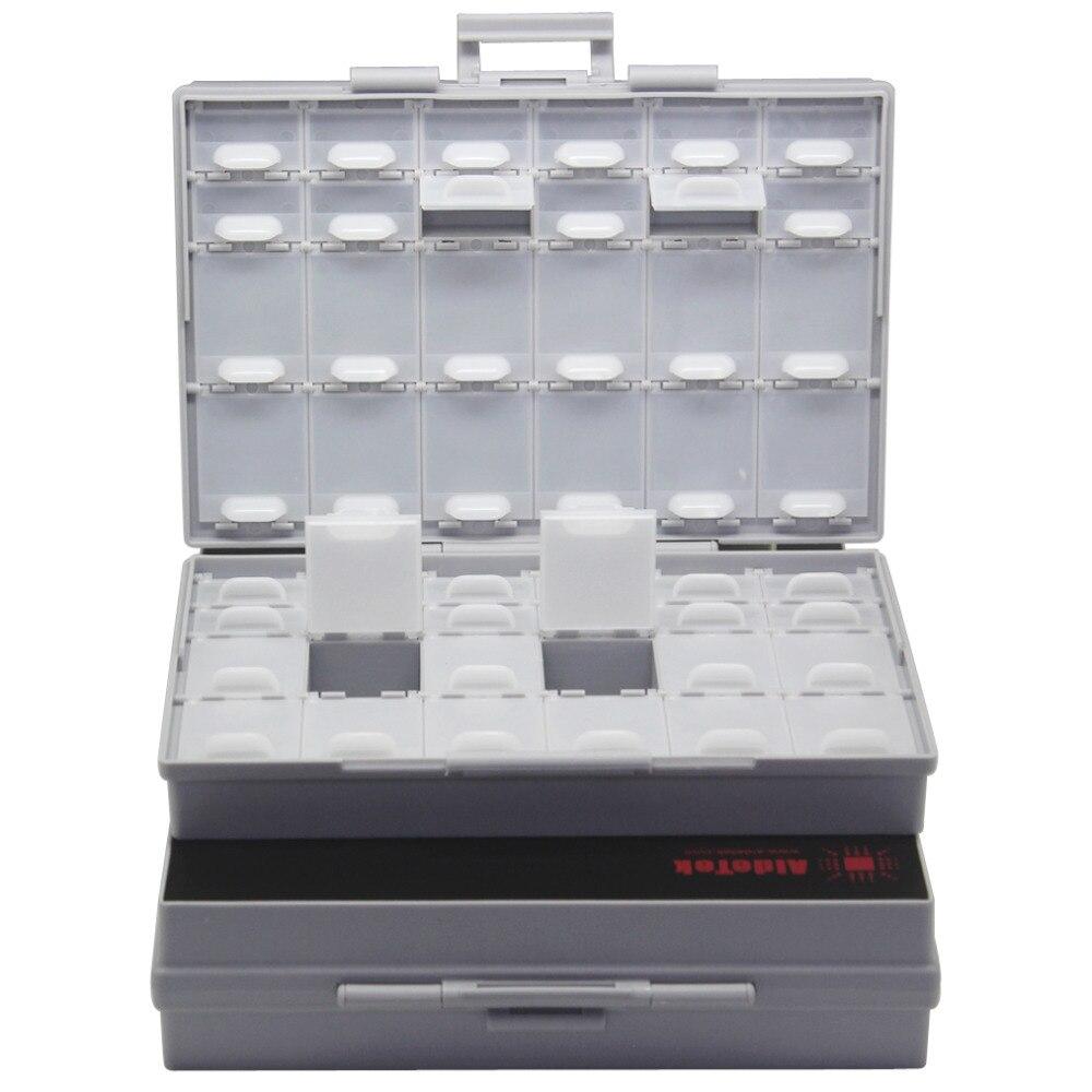 AideTek Box Organizer Craft Beads Storage Lids Empty Enclosure SMD SMT Organizer Surface Mount Plastic Toolbox Label 2BOXALL48