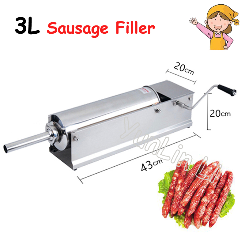 3L Horizontal Sausage Filler Hand-Operated Sausage Stuffers Stainless Steel Manual Sausage Machine Thickening Sausage Maker fast food leisure fast food equipment stainless steel gas fryer 3l spanish churro maker machine