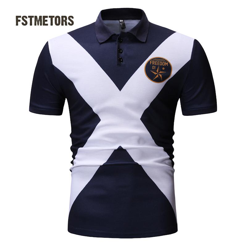 2018 men's   Polo   shirt fashion casual contrast color breathable print Slim personality short-sleeved sports   POLO   shirt
