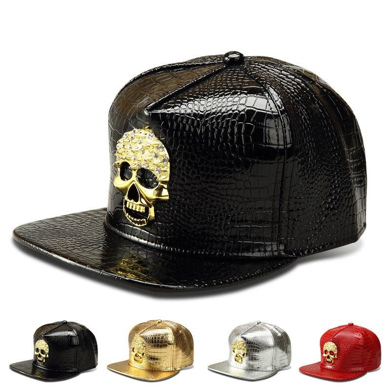 Prix pour Gros PU Cuir Crâne Tête Logo casquettes de Baseball Diamant Or Crocodile hip hop chapeaux hommes femmes gorras DJ Rap snapback chapeau