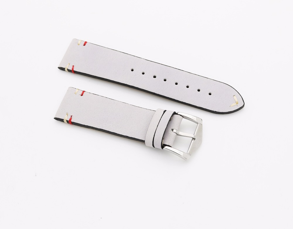 20 22mm New Luxury Men Woman Real Cowhide Suede Leather Grey Gray VINTAGE Wrist Watch Band Strap Belt Silver Polish Pin Buckle men automatic buckle real cowhide cross double stitched leather belt