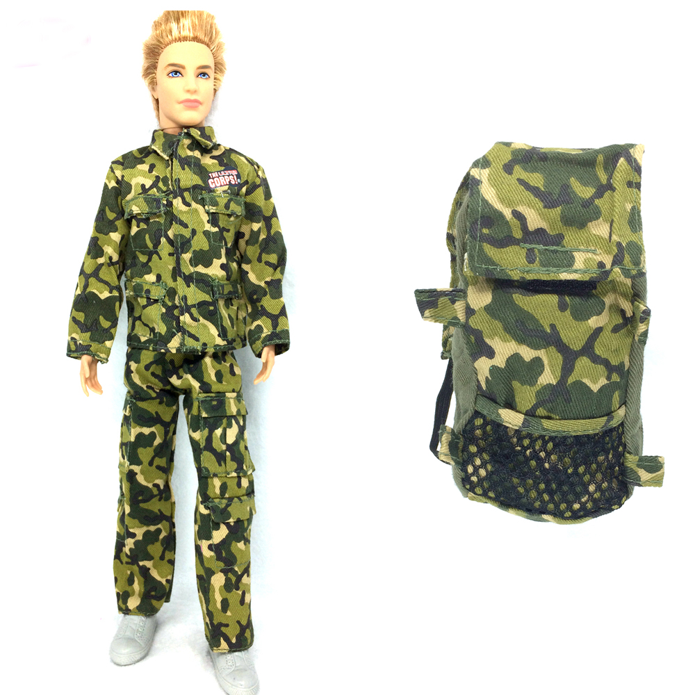 все цены на NK 2 Items Prince Doll Clothes +Knapsack Marines Combat Accessories Bag For Barbie Boy Male Ken Doll For Lanard 1/6 Soldier онлайн