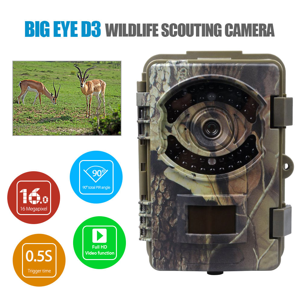 BOBLOV D3 Big Eye 16MP HD 1080P Outdoor Scouting Hunting Trail Game Video Camera 2.4 TFT Day&Night  Infrared Cam lucky john croco spoon big game mission 24гр 004